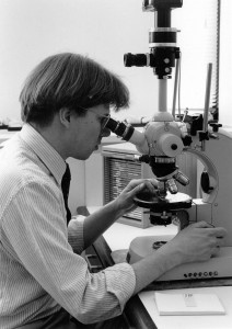 Bob at Microscope