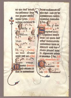 RARE MANUSCRIPT LEAF AT LAB FOR CONSERVATION IDENTIFIED AS A LEAF FROM A NOTABLE 13TH CENTURY FRENCH MISSAL (VERSO)