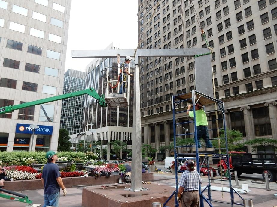 Cleveland: Installation of George Rickey's sculpture on PNC Bank's plaze after extensive conservation work by McKay Lodge Conservation Laboratory of Oberlin, Ohio.