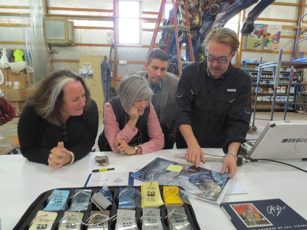 Conservator Jim Gwinner (right) discusses Jimenez sculpture treatment procedures with Smithsonian conservator Helen Ingalls (center) and Susan Jimenez (left), the executive director of the Luis A. Jimenez, Jr. Estate