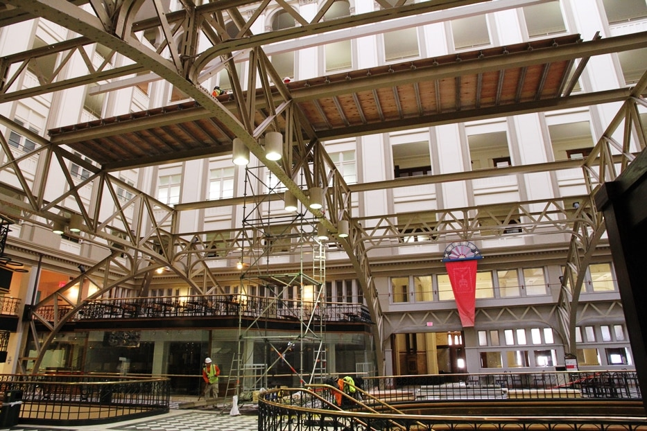 The atrium of the Trump International Hotel during conservation of Irwin's SHADOW PLANES