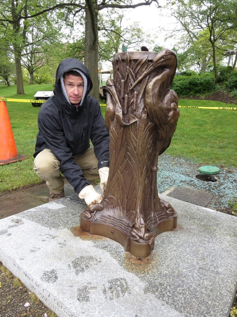 26. Installing Fountain - Cleveland Museum of Art McKay Lodge Conservation Heron Drinking Fountain Reproduction