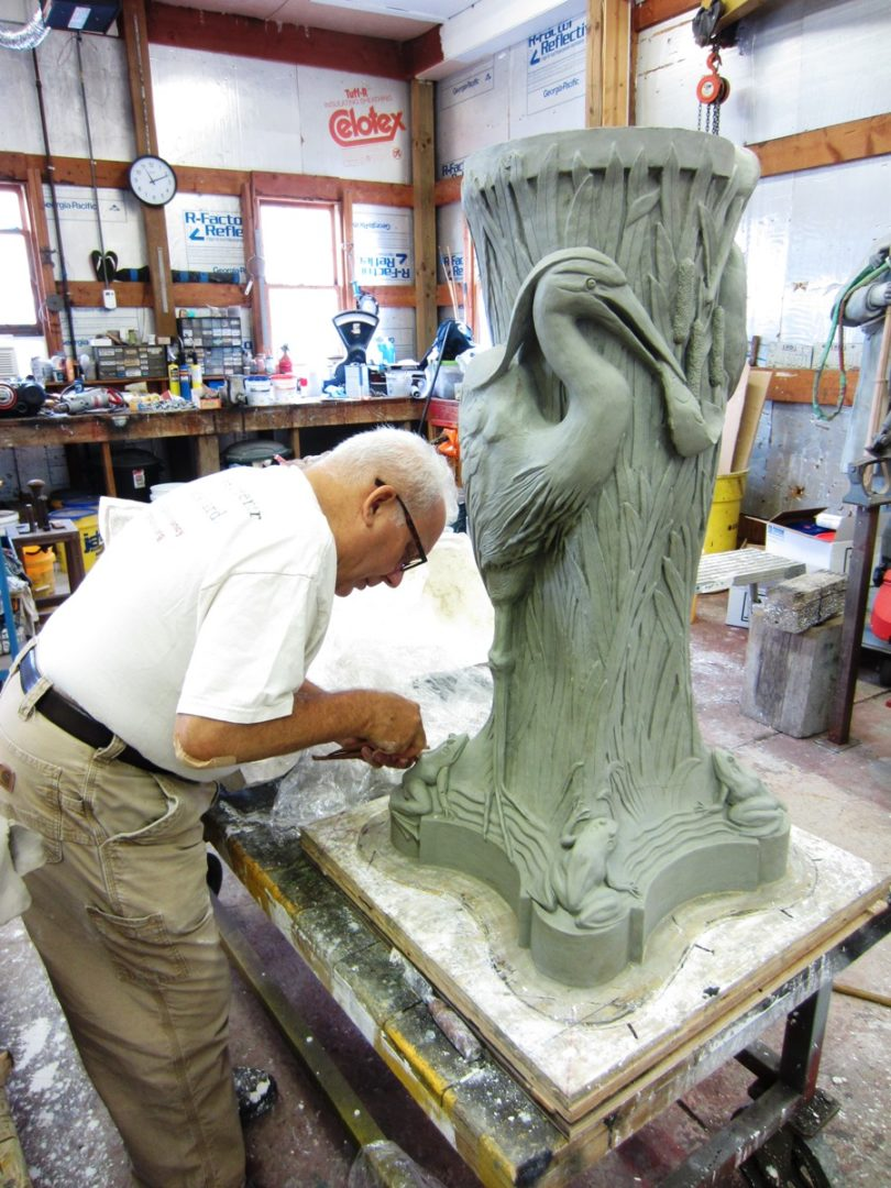7. Sculpting in Clay - Cleveland Museum of Art McKay Lodge Conservation Heron Drinking Fountain Reproduction