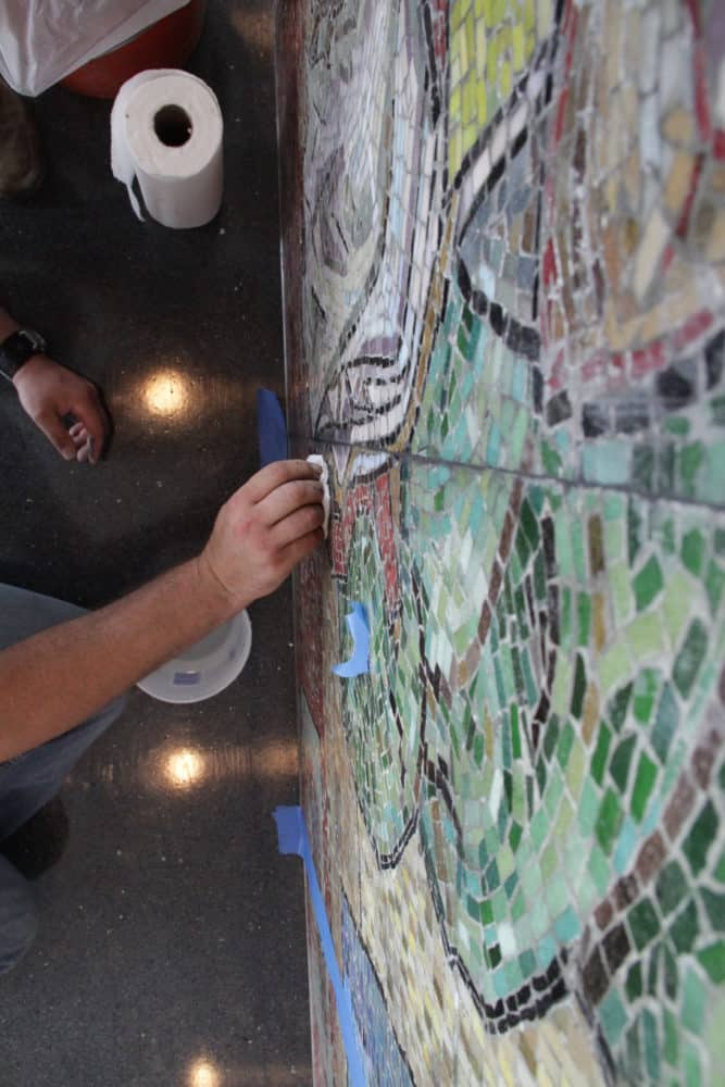 Removal And Mounting Of Another Concrete-bound Mosaic By Conrad Albrizio
